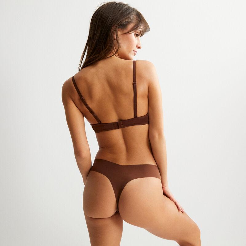 soutien-gorge corbeille en micro - marron;