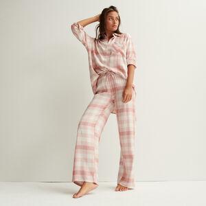 pantalon à carreaux large taille froncée et nouée - rose