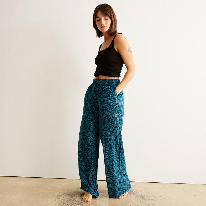 Pantalon imprimé animal - bleu;
