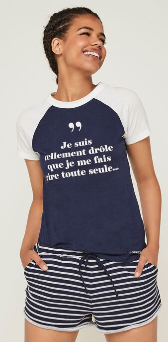 Top collab les confidentellies indifferenciz bleu marine.