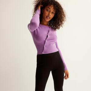 top en maille boutonnière asymétrique - violet