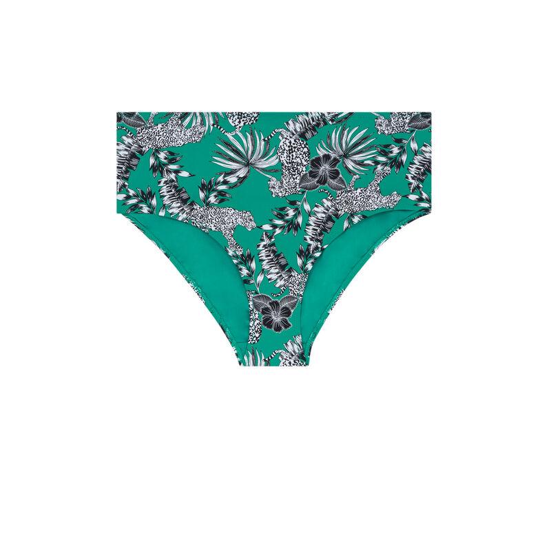 Bas de maillot de bain culotte taille haute - vert;
