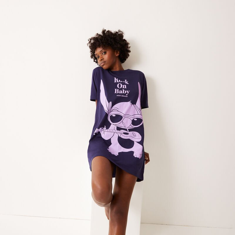 tunique imprimé stitch - bleu ;