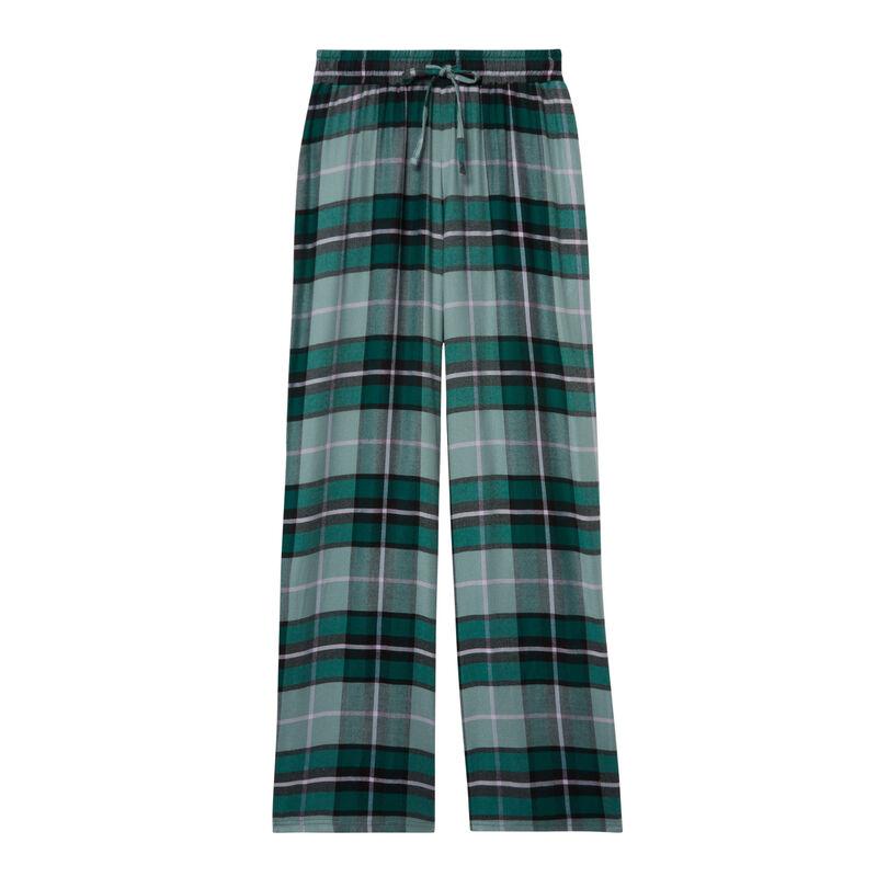 pantalon à carreaux large taille froncée et nouée - sapin;