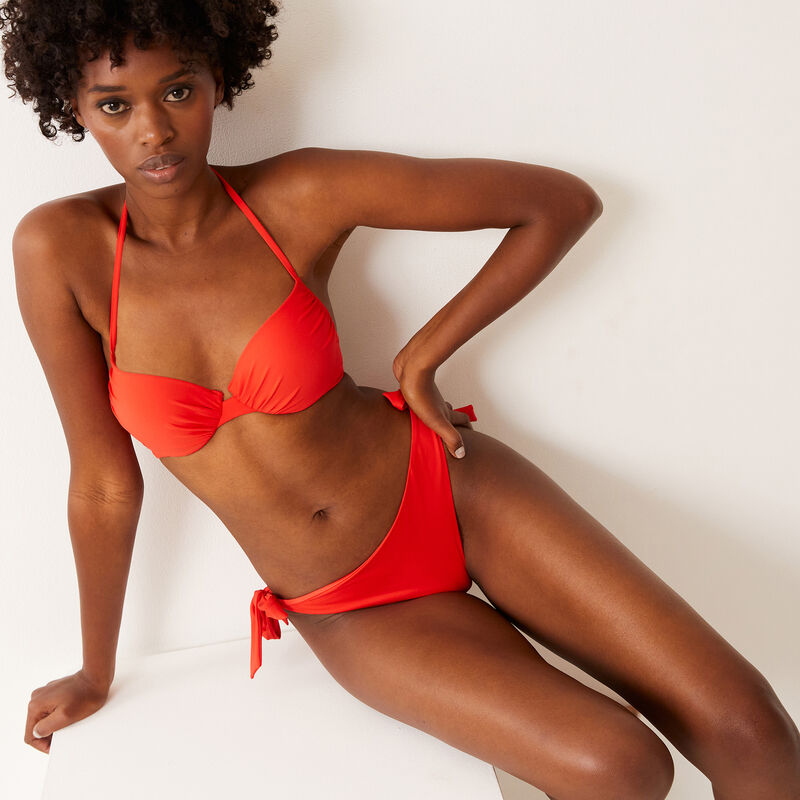 haut de maillot push-up dos nu - rouge;
