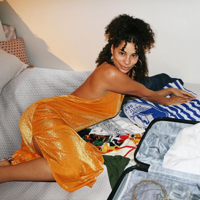 robe de plage dos nu - orange;