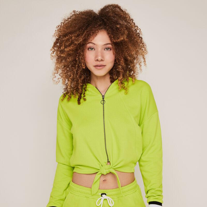 Sweat à capuche et zip - vert;