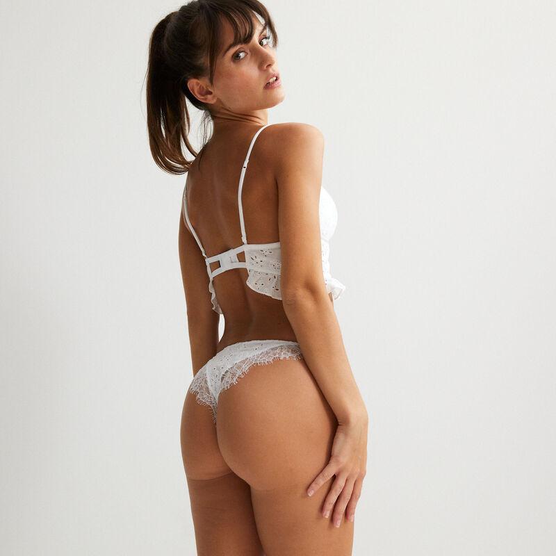 culotte effet bikini à broderies anglaises - blanc;