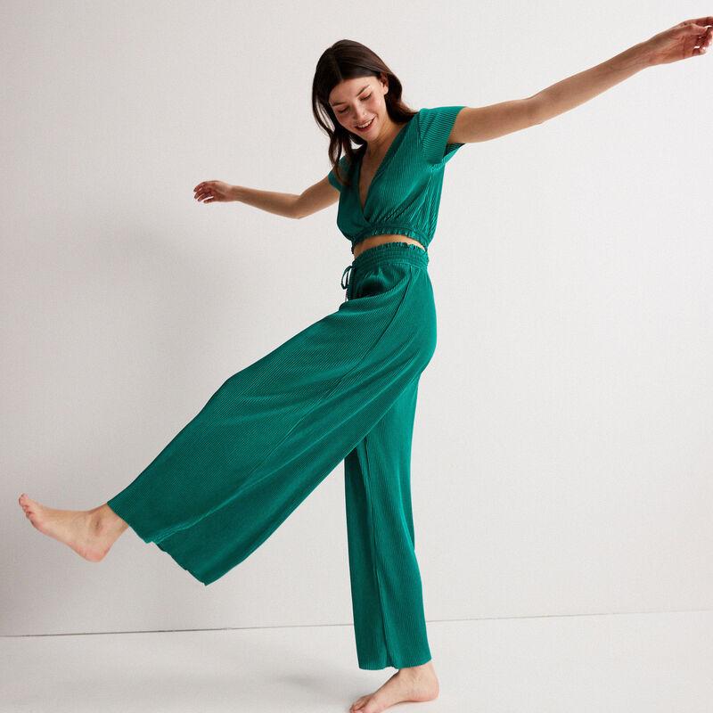 pantalon plissé à élastique froncé - vert;