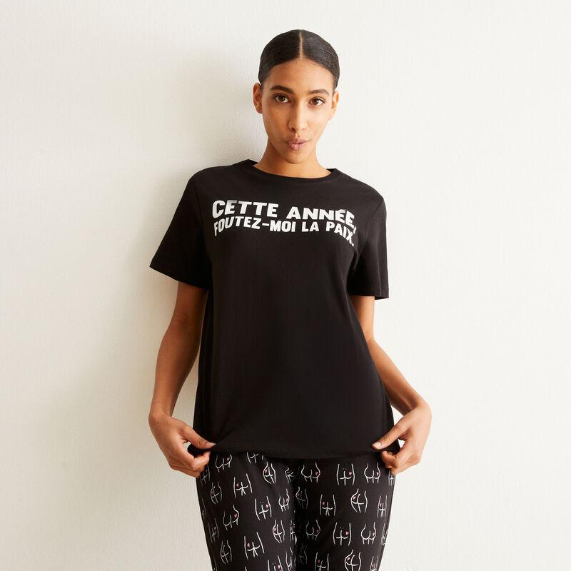 set pyjama manches courtes foutez-moi la paix - noir;