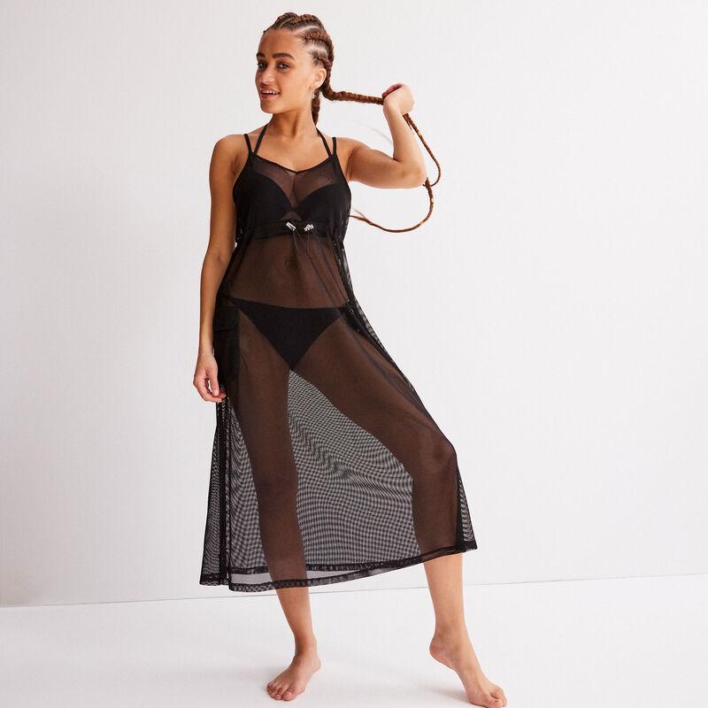 robe en tulle transparente détail élastique - noir;