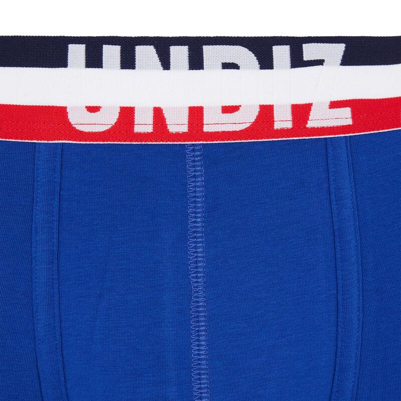 boxer en coton tricolore - bleu;