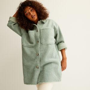 veste oversize en bouclettes - vert d'eau