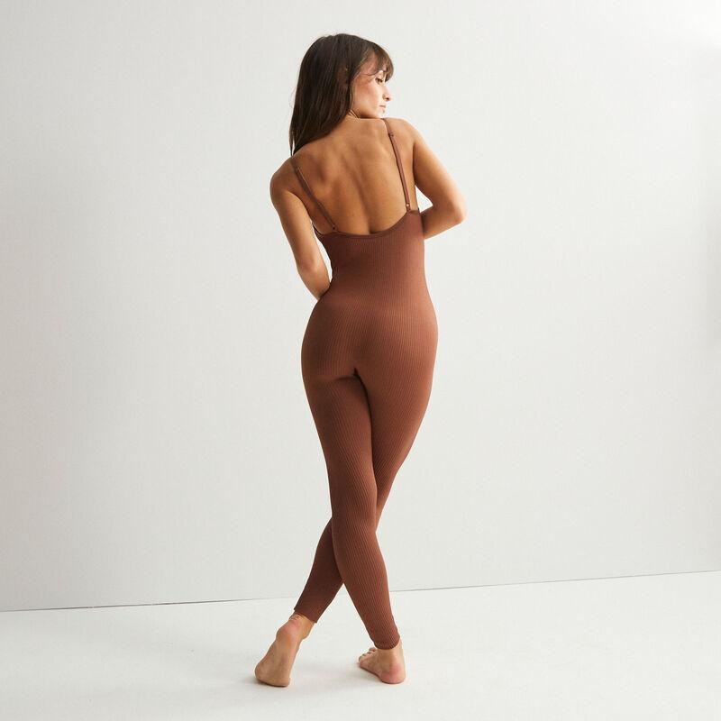 combinaison côtelée - marron;