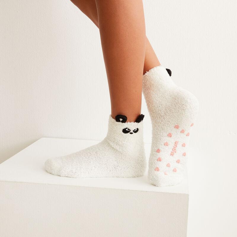 chaussettes panda grognon - blanc;