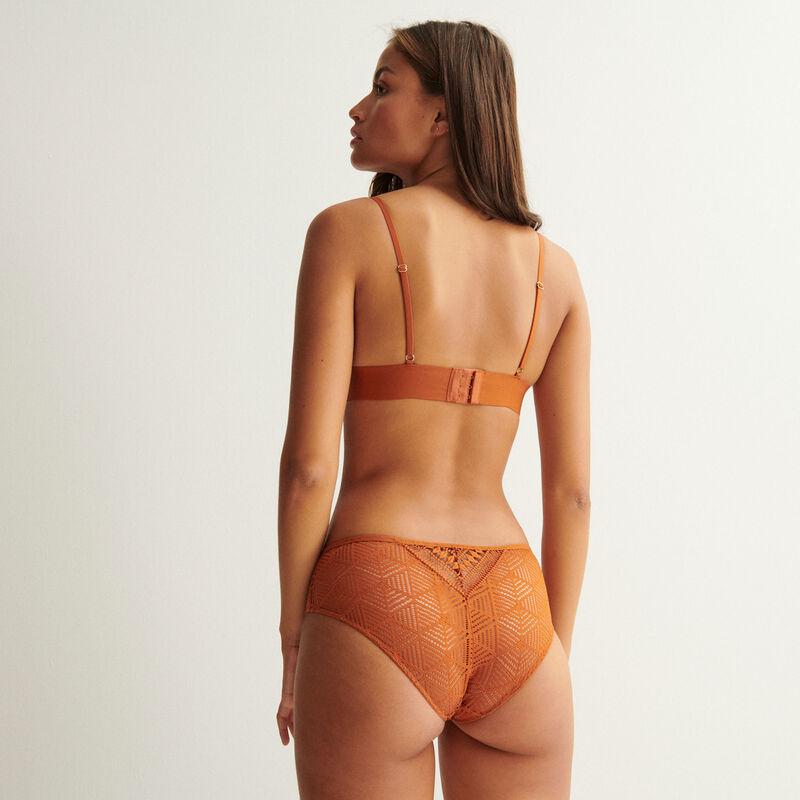 soutien-gorge triangle détails liens et perles dorées - camel;