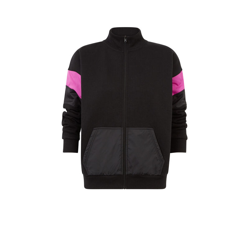 veste à zip à détails manche - noir;