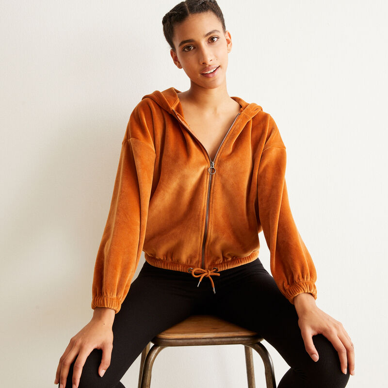 Sweat à capuche en velours - marron;
