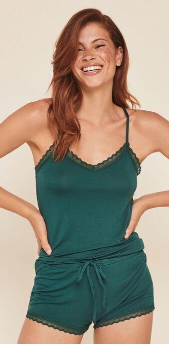 Top en jersey à fines bretelles vitamiz vert.