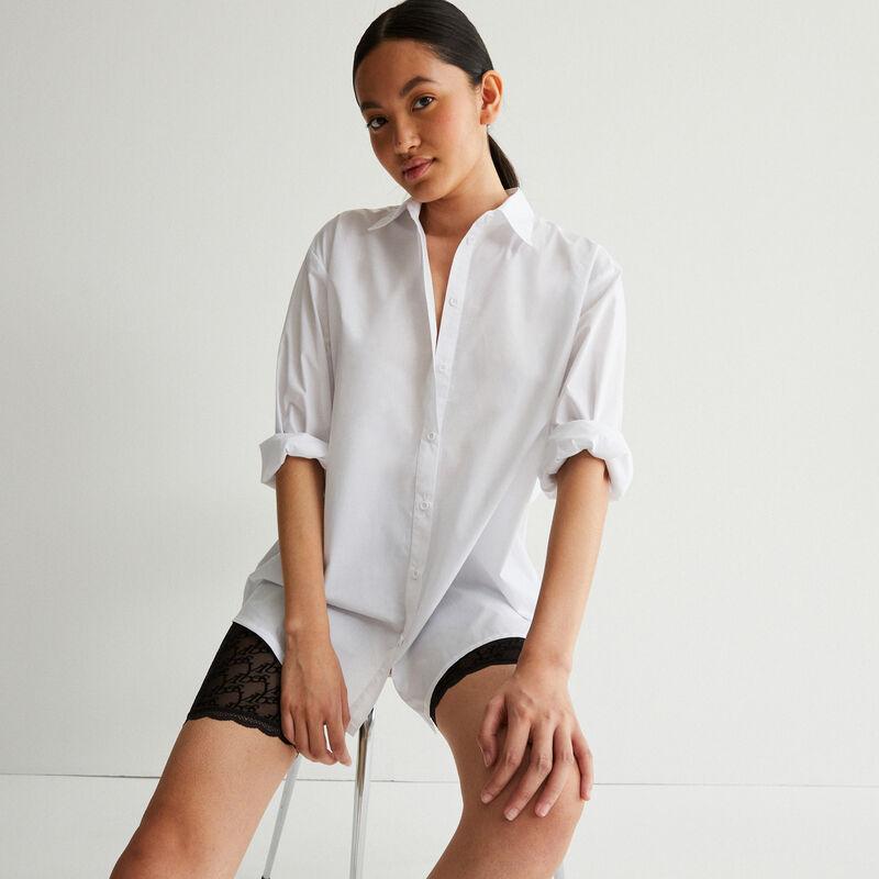 chemise manches longues effet boyfriend - blanc;