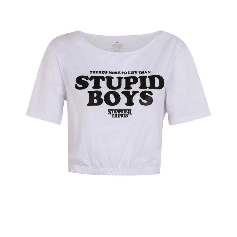 tee shirt à message Stranger Things - blanc;