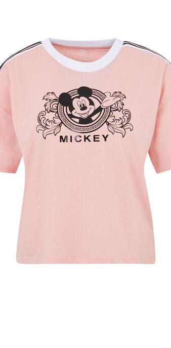 Top à manches courtes print mickey lomickiz rose.