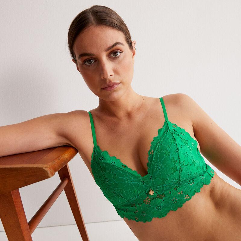 soutien-gorge triangle ampli tout dentelle à bijou - vert;
