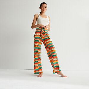 pantalon noué à motifs - vert