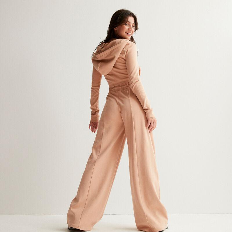 pantalon large taille froncé à pinces - nude;