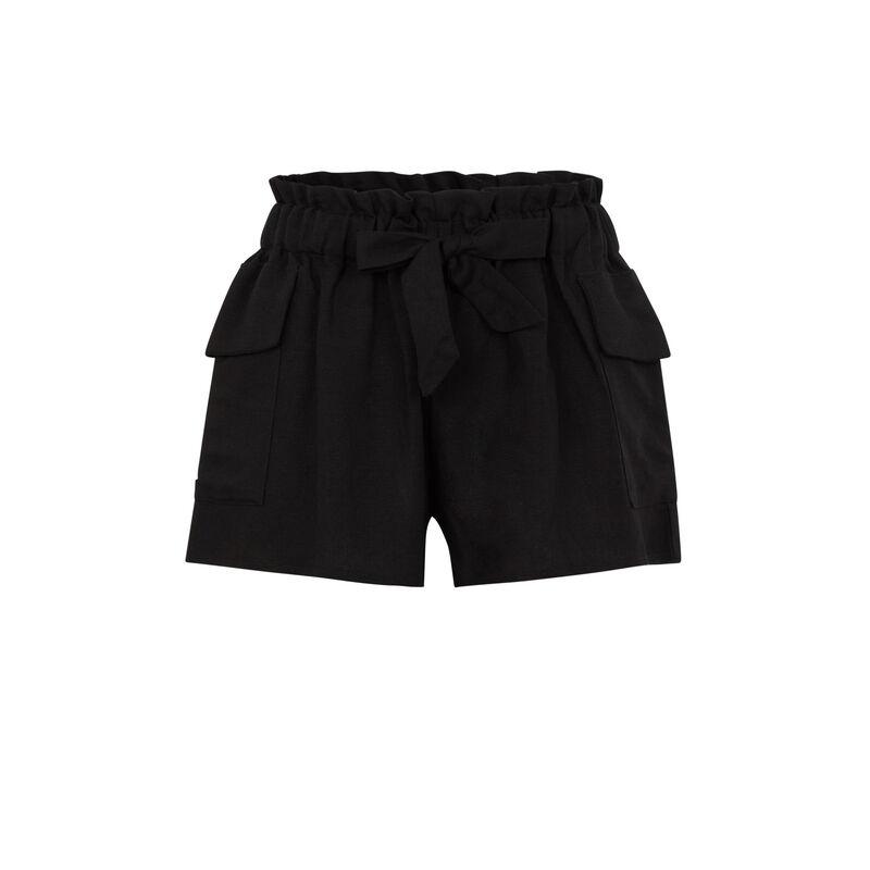 Short à ceinture uni - noir;