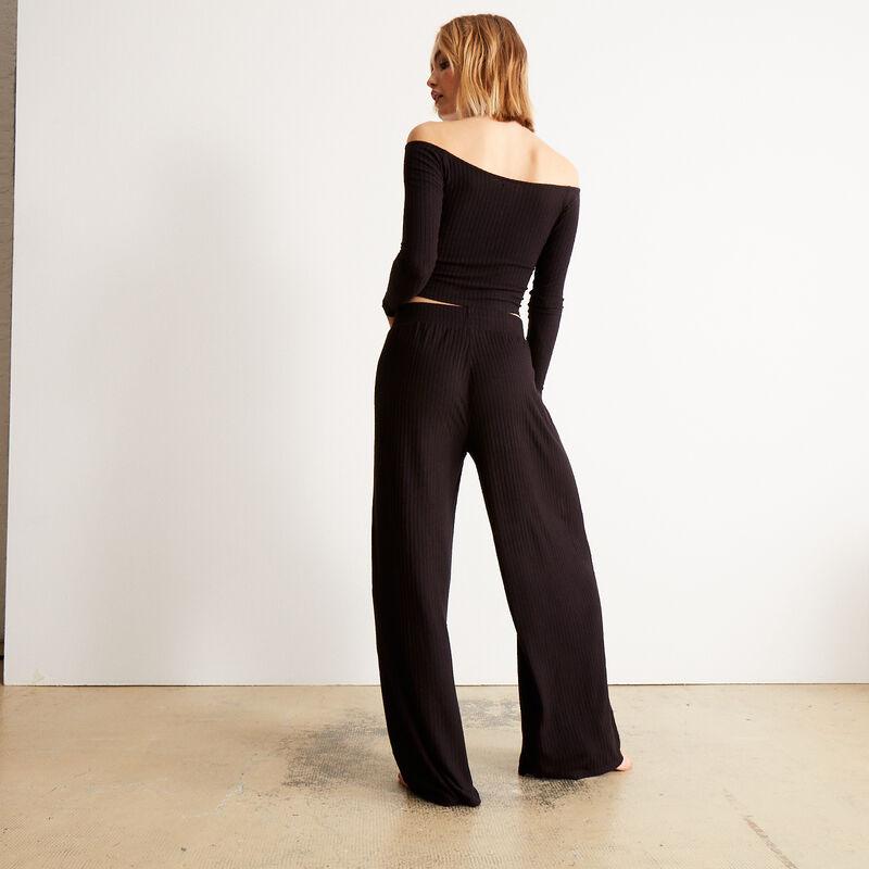 pantalon en maille à taille élastique - noir;