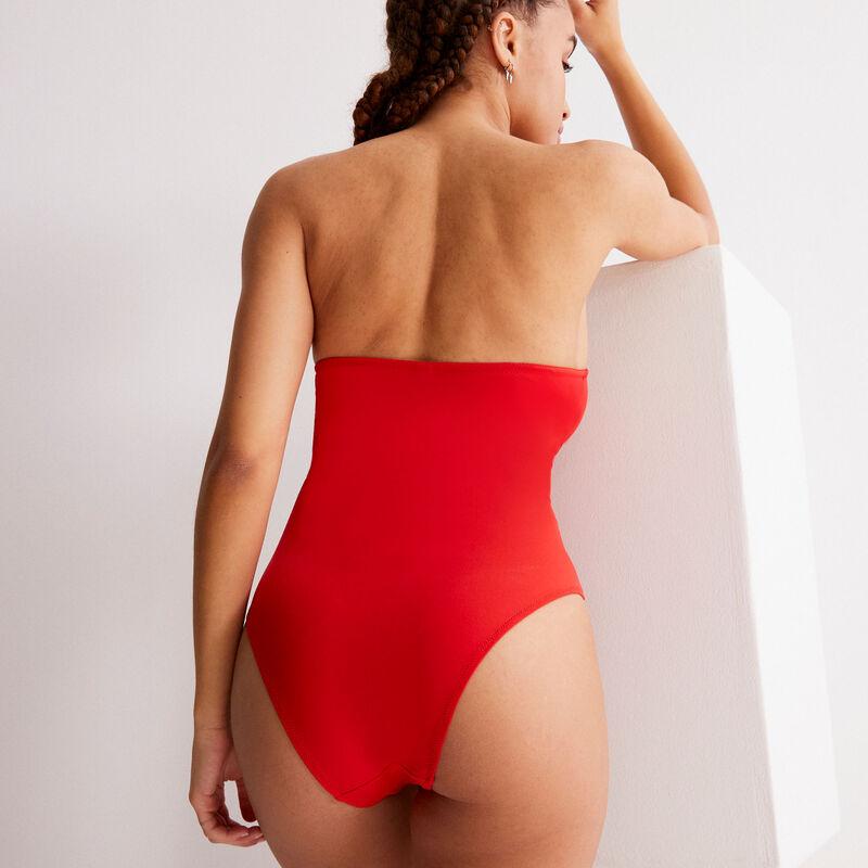 maillot 1 pièce à décolleté anneaux - rouges;