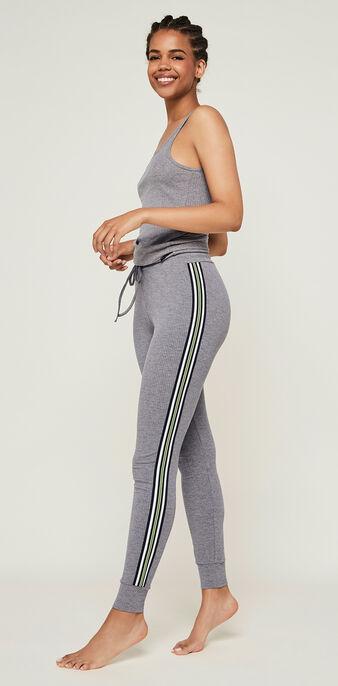 Pantalon jogging bandes laterales newazjiz gris.