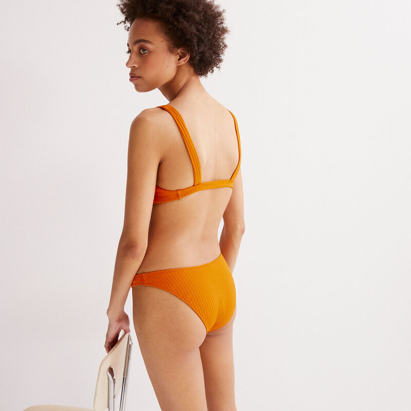 bas de maillot culotte imprimé hawaïen - orange;