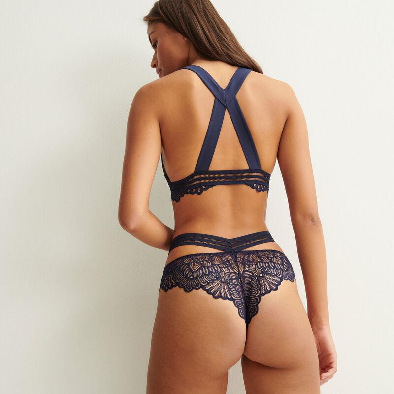 soutien-gorge triangle liens croisés dos - bleu marine;
