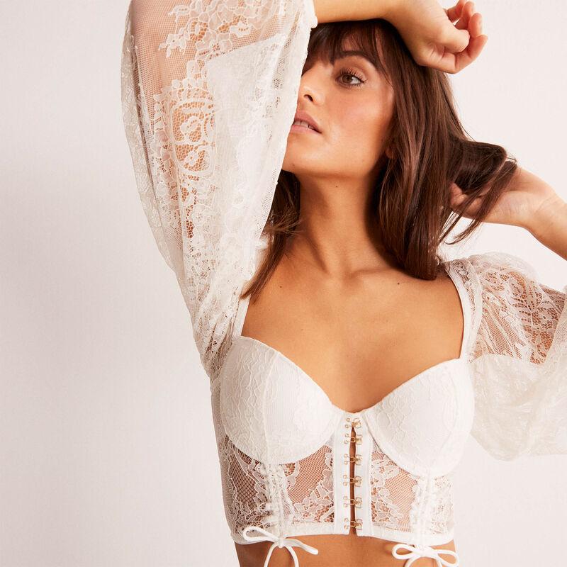 soutien-gorge bustier ampli à manches effet corset - écru;