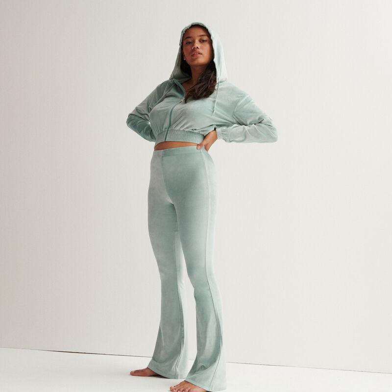 veste crop en velours à taille élastique - vert d'eau;