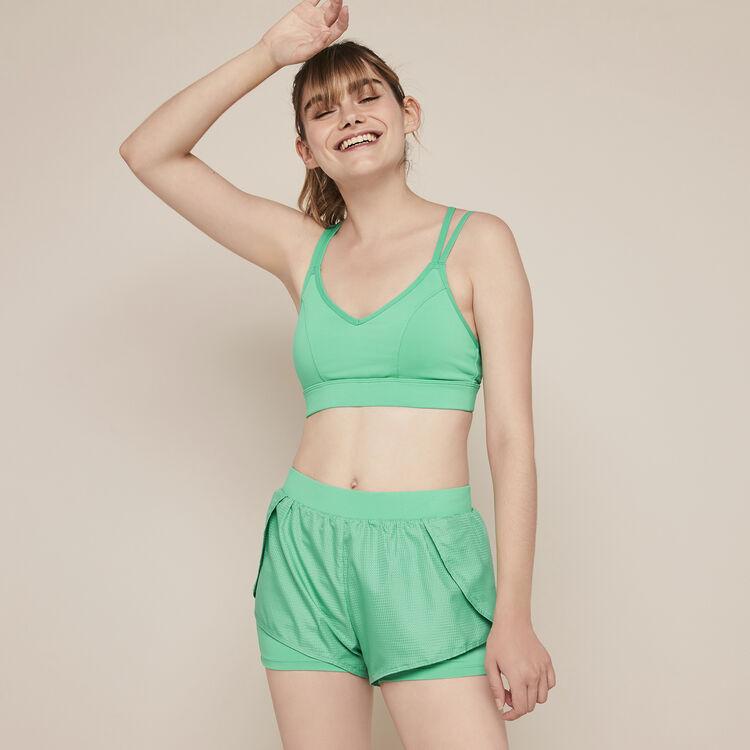 Brassière sport jersey uni nolimitiz vert émeraude.