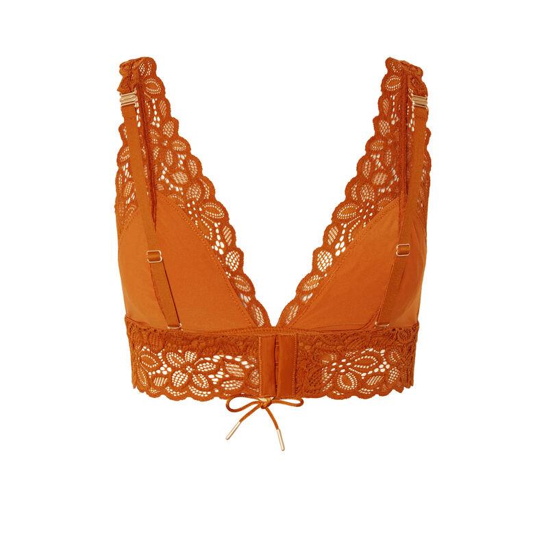 soutien-gorge triangle en dentelle fleurie détail noeud - marron;