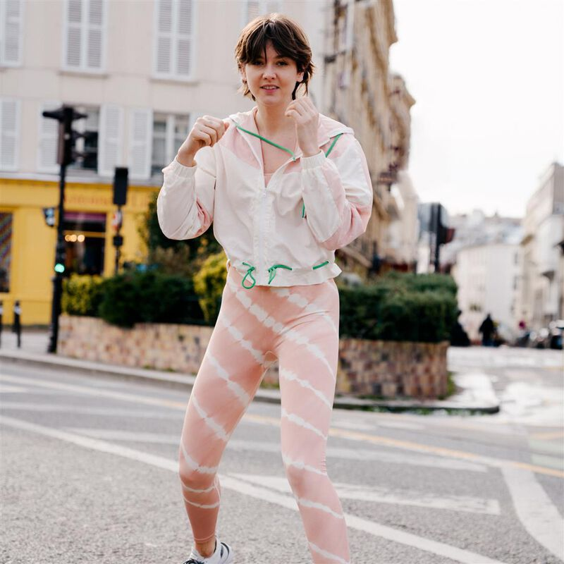 veste sport à détail zip et cordon - rose;