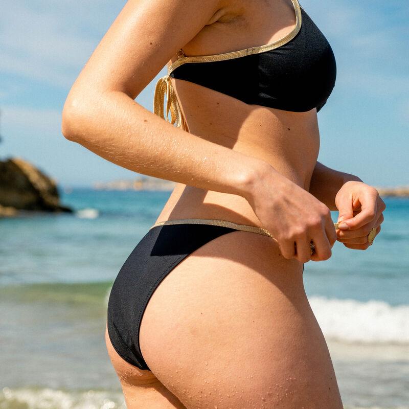 bas de maillot culotte bikini côtés noués - noir;