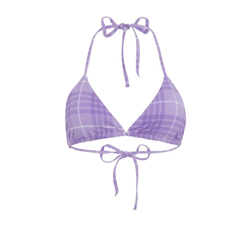 Haut de maillot de bain triangle à carreaux - lilas;