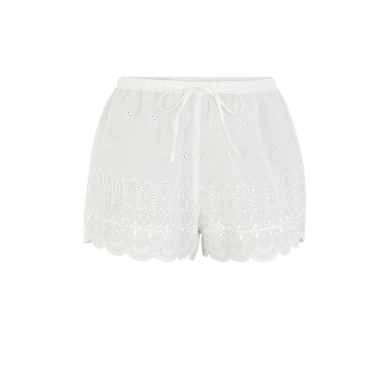 Short coton brodé - blanc;