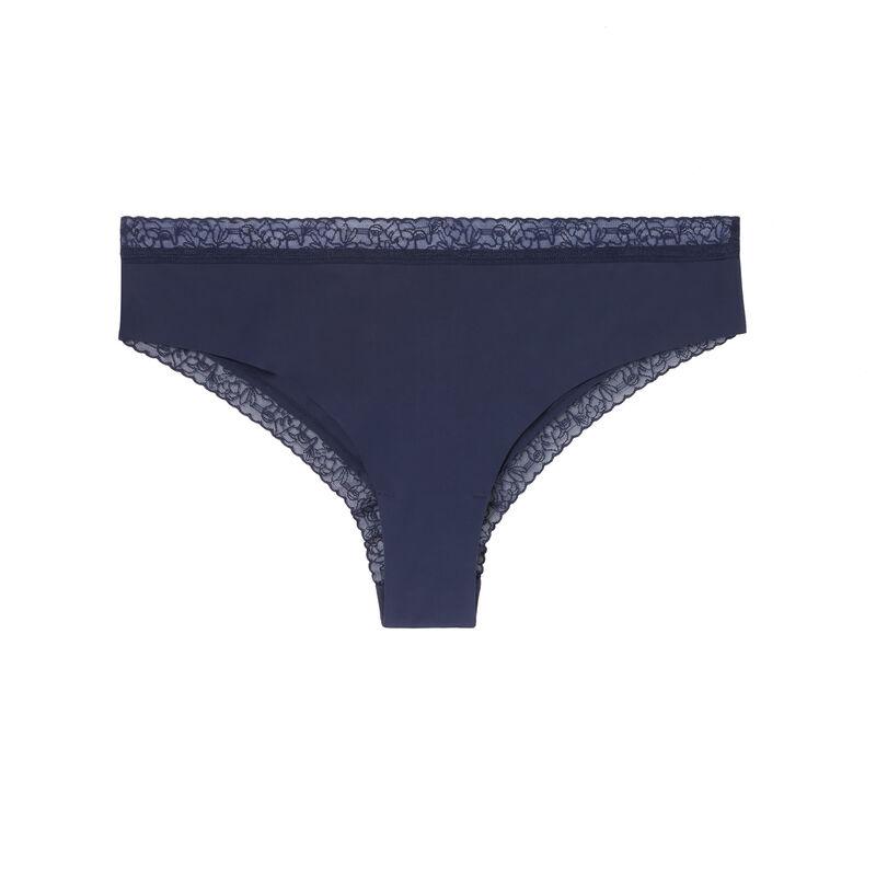 shorty en micro et dentelle - bleu marine;