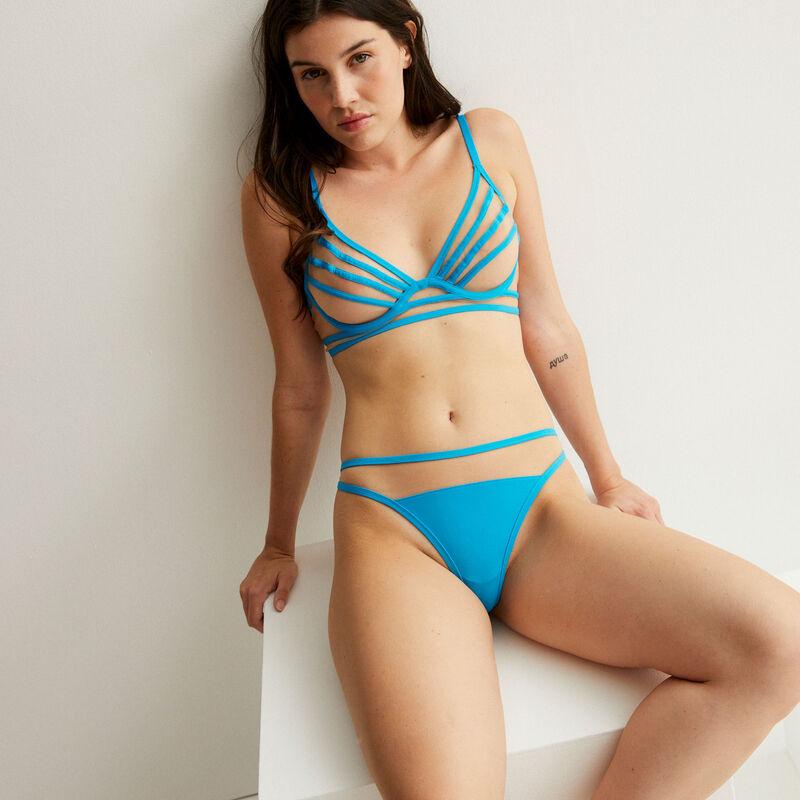 soutien-gorge corbeille en tulle et bandes - bleu;