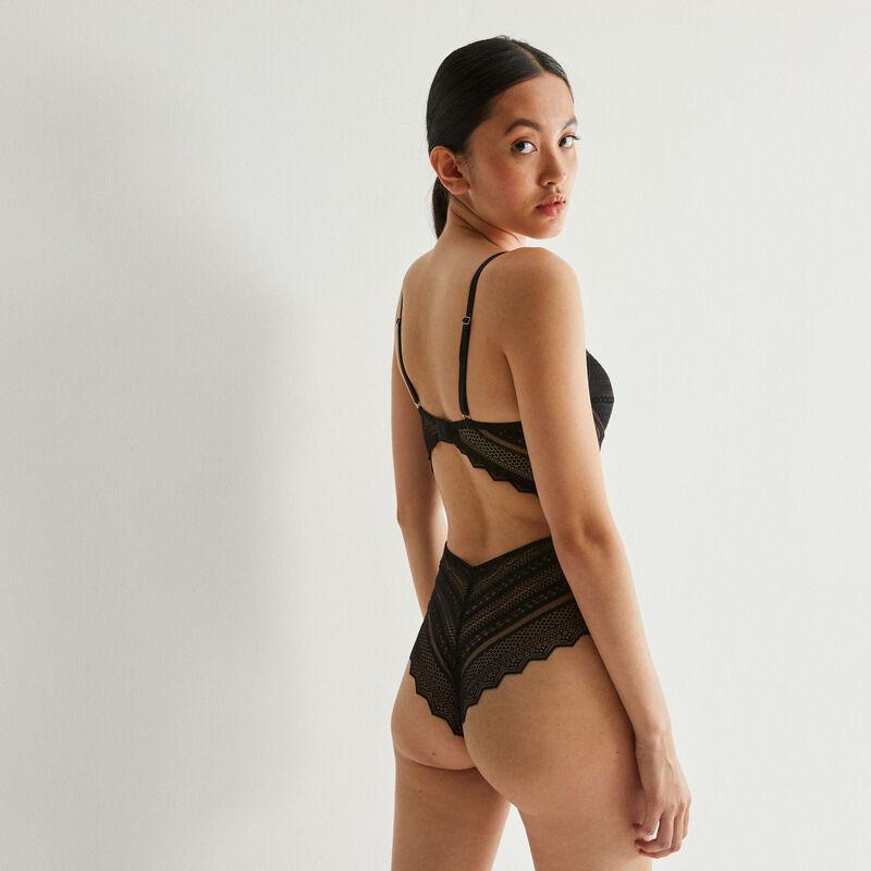 body push-up ajouré à dentelle géométrique - noir;