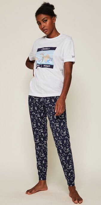 Pantalon à motifs licence cendrillon  bleu marine.