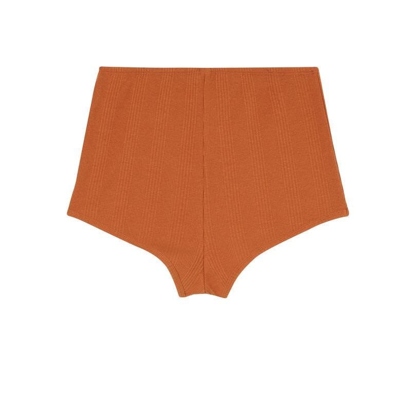 short en jersey détail corset - marron;