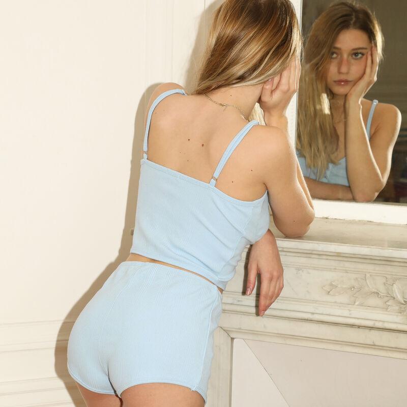 top à bretelles fines effet corset - bleu;