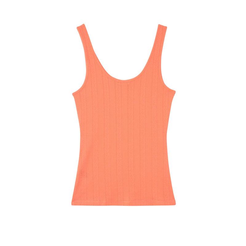 débardeur uni maille pointelle - orange;